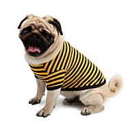 Недорогие -Собака Футболка Одежда для собак В полоску Желтый Розовый Белый / синий Хлопок Костюм Для домашних животных