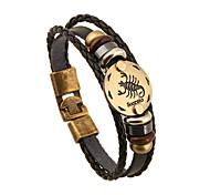 cheap -Men's Women's Chain Bracelet Vintage Friendship Leather Round Jewelry Anniversary Gift Valentine Costume Jewelry Black