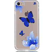 Недорогие -Для iphone 7 7plus 6s 6plus 5s 5 бабочки цветы картины рельеф лак tpu материал не затухает телефон случае