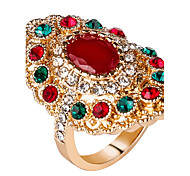 cheap -Women's Resin Alloy Ring Statement Ring - Round Geometric Personalized Luxury Unique Design Vintage Statement Euramerican Fashion Red