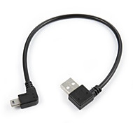 cheap -Mini USB 5Pin 90 Degree Right Angled Male to Left USB 2.0 Male Data Charge Cable 20cm