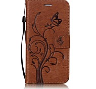 For iPhone 7 Plus 7 Butterfly and Flower Embossed Pattern PU Leather Material Wallet Function Phone Case 6 Plus 6S 6 SE 5