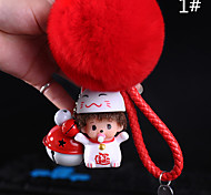 Bag / Phone / Keychain Charm Cute  Jingle Bell Fur Ball Cartoon Toy Phone Strap PVC