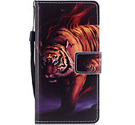For Huawei P8 Lite (2017) P10 Case Cover Tiger Pattern Painted PU Skin Material Card Stent Wallet Phone Case P10 Plus P10 Lite