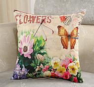 1 Pcs Retro Flowers With Butterfly Cotton/Linen Pillow Cover Fashion Pillow Case