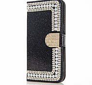 cheap -Case For Samsung Galaxy J7 (2017) J5 (2017) Card Holder Wallet Rhinestone with Stand Flip Magnetic Full Body Cases Flower Glitter Shine