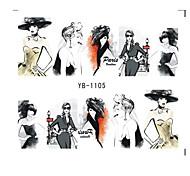 6pcs Nail Sticker Water Transfers Stickers Nail Decals SKETCH GIRL URBAN LADY FASHION SHOW ORIENTAL STYLE YB1105-1110