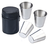 4PCS 30ML Stainless Steel Cup in Faux Leather Cover Tea Coffee Beer Whiskey Vodka Wine Shot Glasses Cups Mugs Drinkware Outdoor Travel Camping Cup Set