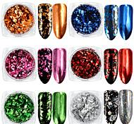 6 Box Aluminum Nail Flakes Sequins Powder Magic Mirror Glitters Gold Silver Candy Colors Irregular Pigment Nail Decorations
