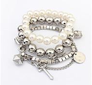 Women's Strand Bracelet Friendship Fashion Vintage Stretch Rock Plastics Alloy Circle Cross Alphabet Shape Number Jewelry ForAnniversary