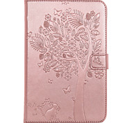 For iPad Mini 4  Case Cover Card Holder Wallet with Stand Flip Embossed Full Body Case Tree Cat Butterfly Hard PU Leather for Mini 1.2.3