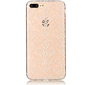 cheap -Case For Apple iPhone 7 Plus iPhone 7 Transparent Pattern Back Cover Flower Lace Printing Soft TPU for iPhone 7 Plus iPhone 7 iPhone 6s