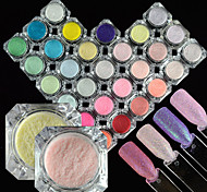 28bottles/set 0.2g/bottle Beautiful Candy Color Nail Art Glitter Sugar Coating Powder Sparkling Sugar Coating Decoration Shining Mermaid Design TY6-33