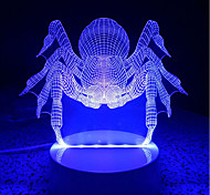 3D Acrylic Spider LED Lamp Discoloration Night Lights for Kids Room Decorative Scared Animals Lamps Remote Control Lights Lamps for Family
