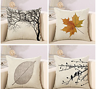 cheap -4 pcs Cotton/Linen Pillow Case Pillow Cover, Botanical Classic Novelty Classical Neoclassical Euro Traditional/Classic Retro