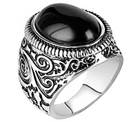 cheap -Men's Ring Statement Ring - Round Geometric Personalized Luxury Unique Design Vintage Statement Euramerican Fashion Black Ring For Party