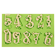 Love Heart Silicone Number Mold Cake Decoration Tools Fondant Mold Chocolate Fimo Clay Mold Color Random