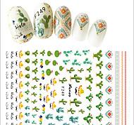 abordables -1pcs Montaje en Superficie Pegatinas de uñas 3D Adhesivo 3D Chicas y Mujeres Jóvenes Plantilla de estampado de uñas Diario Moda Alta