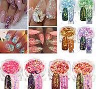 1g/Bottle Fashion Nail DIY Beauty Paillette Sweet Style Colorful Nail Art Hexagon Design Mixed Shining Sequins Glitter Powder Charm Decoration T1-40