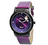 Women's Fashion Watch Quartz Leather Band Black Red Purple