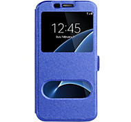 cheap -For Samsung Galaxy S8 Plus S8 Case Cover With Windows Full Body Case Solid Color Hard PU Leather For Samsung Galaxy S7 edge S7 S6 edge S6 S5 S4