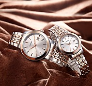 Couple's Fashion Watch Japanese Quartz Shock Resistant Stainless Steel Band Luxury Silver
