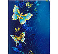Case For IPad 2 3 4 Air Air 2 Pro 9.7'' Case Cover Golden Butterfly Pattern PU Material Three Fold Flat Computer Shell Phone Case
