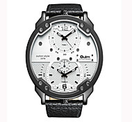 Oulm Brand Vogue Men PU Leather Strap Quartz Watch Waterproof Dual Time Zone Fashion Casual Male Big Size Wristwatches
