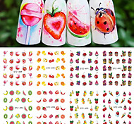 12Styles/set Summer Hot Fashion DIY Beauty Creative Lovely Fruit Ice Cream Design Nail Art Water Transfer Decals STZ489-500