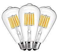 cheap -3pcs 10W 1000lm E27 LED Filament Bulbs ST64 10 LED Beads COB Decorative Warm White 220-240V