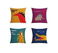 cheap -4 pcs Linen Pillow case Sofa Cushion Travel Pillow Body Pillow Bed Pillow Pillow Cover, Quotes & Sayings Graphic Prints Wildlife Casual
