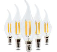 4W E14 Круглые LED лампы CA35 4 светодиоды COB Диммируемая Декоративная Тёплый белый 300-400lm 2800-3200K AC 220-240V