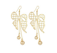 cheap -New Fashion Vintage Charm Elegant Plated Gold/Silver Hollow Bowknot Drop Earrings For Women Tassel Pendant Dangle Long Earrings Jewelry Bijouterie