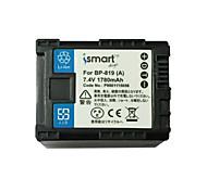 Ismartdigi BP819 7.4V 1780mAh Camera Battery for Canon FS10 100 11 200 21 22 HF M400 M31 M32 S30