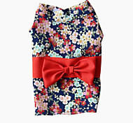 cheap -Dog Coat Dog Clothes Floral / Botanical White / Black / Red Fabric Costume For Pets Men's / Women's Casual / Daily