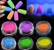 12Bottles/Set Fashion Nail Art Fluorescent Glitter Powder DIY Decoration Nail Art Beauty Glow Neon Powder Glitter 3d Nail Bright Design Pigment YG1-12
