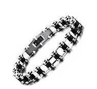 cheap -Men's Chain Bracelet Jewelry Punk Silica Gel Stainless Steel Round Jewelry Office / Career Dailywear Costume Jewelry Black