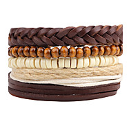 cheap -Men's Leather Bohemian Wrap Bracelet Strand Bracelet - Personalized Bohemian Handmade Circle Brown Bracelet For Daily Casual Stage