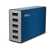 USB Charger 5 Ports Desk Charger Station with Smart Identification Universal Charging Adapter