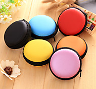 1 PC Soild Color Round Headphone Zipper Storage Bag