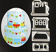 4 Pcs/set DIY Train Cake Mold Decorating Baking Tools Stencil Stamp Fondant Cake Mold Train Cookie Cutter Print Plunger