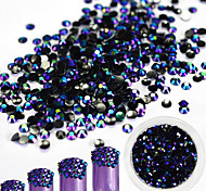 1Bottle 2mm Fashionable Laser Resin Jelly Rhinestone Nail Art Black-Purple Glitter Rhinestone Nail DIY Beauty Jewelry Shining Decoration