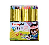 OPHIR 12 Colours Body Paint Crayons Neon Fluorescent Maquiagem Makeup Kids Face Paint Pigment UV Glow Halloween Painting
