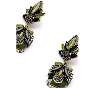 baratos -Mulheres Brincos Compridos Imitação de Diamante Pingente Moda Euramerican Bijuterias Destaque Clássico Aço Titânio Quadrado Jóias Para