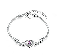 Women's Girls' Chain Bracelet Crystal Heart Geometric Friendship Fashion Simple Style Costume Jewelry Crystal Silver Plated Heart Jewelry