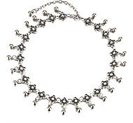 New Fashion Vintage Metal Flower Choker Necklace Boho Silver Color Short Necklace For Women Charm Wedding Jewelry