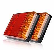 ZIQIAO 2Pcs 8 LEDS Car Truck Rear Tail Light Warning Lights Rear Lamps Waterproof Tailights Rear Parts for Trailer Truck Boat DC 12V