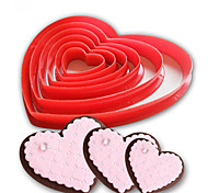 cheap -6pcs/set Heart Shaped plastic Cake mold cookie cutter biscuit stamp Sugar Craft cake decorations