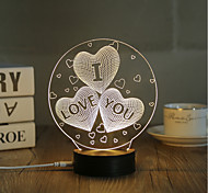 1 Set, Popular Home Acrylic 3D Night Light LED Table Lamp USB Mood Lamp Gifts, IOU