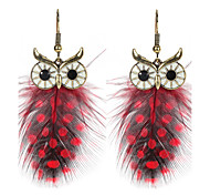 Women's Drop Earrings Jewelry Animal Design Statement Jewelry Chrismas Classic Elegant Feather Alloy Wings / Feather Owl Jewelry For